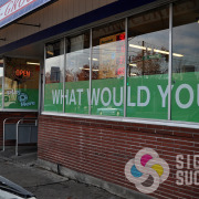 Adding your advertising to your windows, Signs for Success, Spokane can install to the inside or outside of the window, whichever you prefer