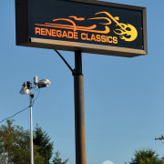 Printing triple strike for great color goes well with blockout black so more light comes through the color on this Renegade Classics pole sign in Spokane