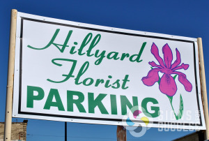 Parking sign out of Corro coro corrugated plastic, coroplast signs for Hillyard Florist in Spokane, make a great yard, political, or real estate sign
