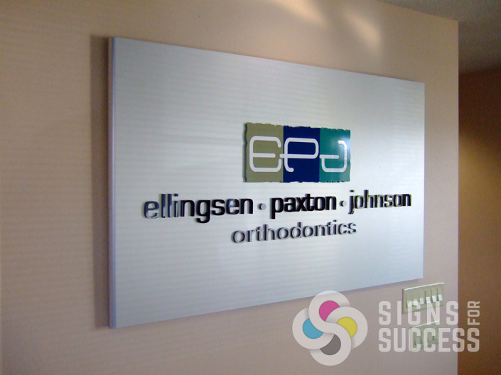 Ellingsen Paxton lobby sign has dimension and can be easily moved, created and installed by Signs for Success Spokane and Liberty Lake