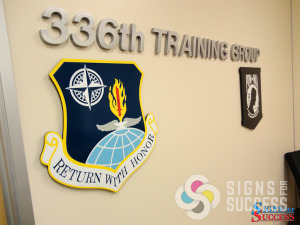Solid metal aluminum letters and dimensional shields for Fairchild 336th Training Group, by Signs for Success Airway Heights and Spokane