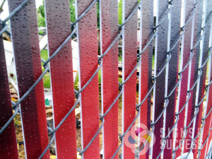 up close view of Chain Link Fence Slat, Fence Slat Signs, for privacy fences, printed with whatever message or high resolution image you want, Signs for Success can do the design as well