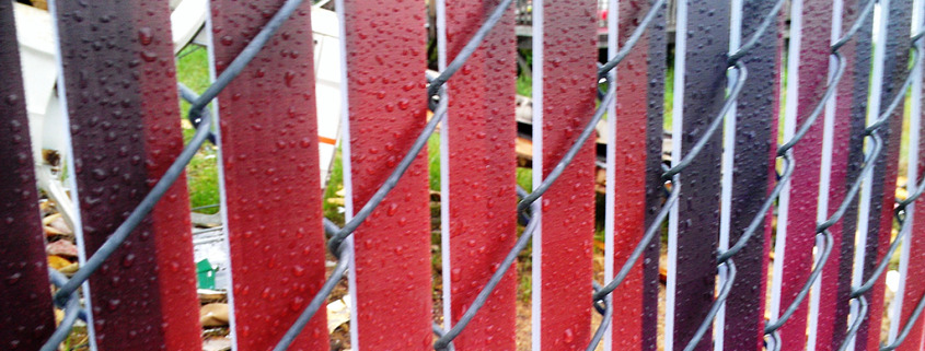 up close view of Chain Link Fence Slats for privacy fences, printed with whatever message or high resolution image you want, Signs for Success can do the design as well