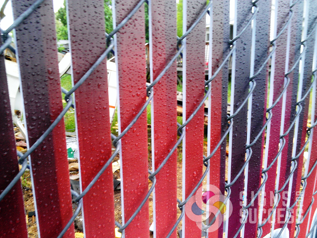 Custom chain link fence slats signs for success up close view of chain link fence slats for privacy fences printed with whatever message workwithnaturefo