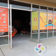 Add custom printed window graphics for a great billboard look to give privacy to your office windows, designed and printed by Signs for Success, Spokane