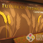 Dimensional metal laminate letters and wheat stalks on custom printed wallpaper for 2nd Harvest Spokane and Pasco, Future of Feeding Hope Campaign wall, dimensional letters and logos, dimensional letters spokane