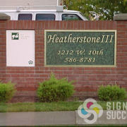 Heathersone Apartments in Kennewick, metal laminate on PVC plastic, letters mounted to countertop material has a great look, by Signs for Success in Spokane