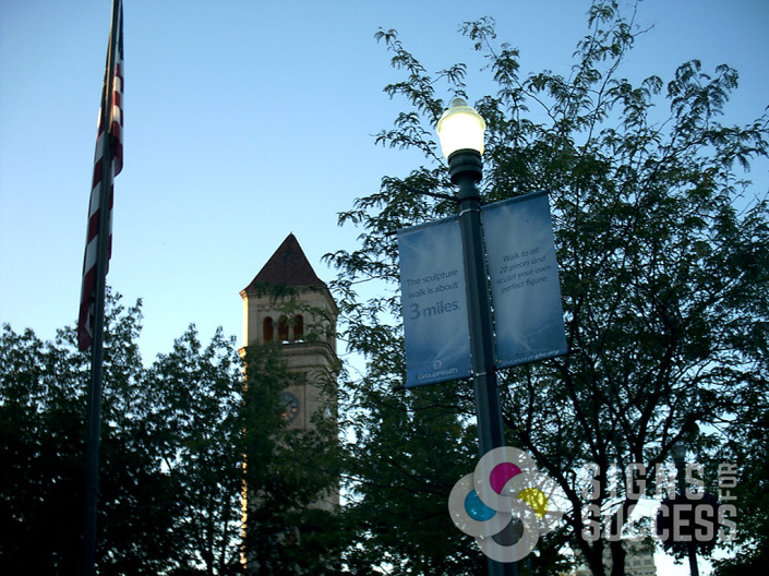 Group Health sponsored these pole banners at Riverfront Park, printed by Signs for Success