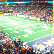 Sponsorship banners printed by Signs for Success at Spokane Arena for the Shock football, sponsor signs spokane