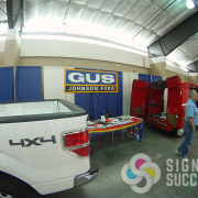 This banner for Gus Johnson Ford, via The Quinn Group Advertising, is simple, yet works for many different events