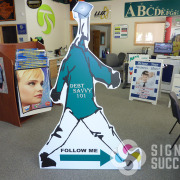 Follow me to the next event with a full sized standee cutout that is free standing, in Spokane and Spokane Valley