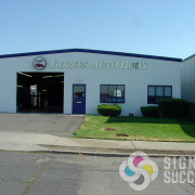 Gobees Auto Body in Spokane wanted large metal looking letters for their building, they called fast Signs for Success to get what they wanted now