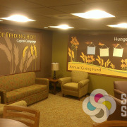 2nd Harvest Pasco & Spokane added these wallpaper murals with dimensional letters and framing to their waiting room areas, by Signs for Success, dimensional letters Spokane