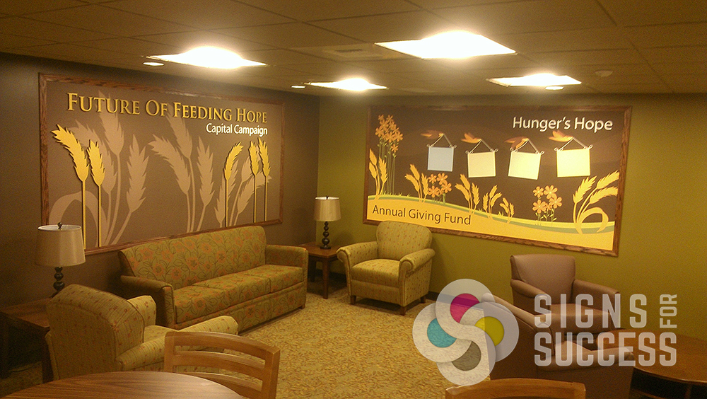 2nd Harvest Pasco & Spokane added these wallpaper murals with dimensional letters and framing to their