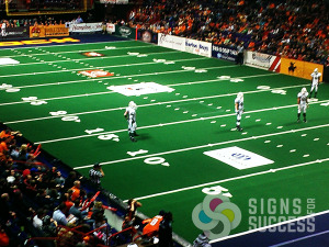 Dasher board areana banners spokane, advertising at Spokane Arena for Shock football team by Signs for Success