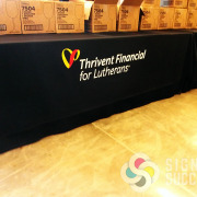 Thrivent event table runner, table throw, tablecloth, made fast by Signs for Success, in Spokane now