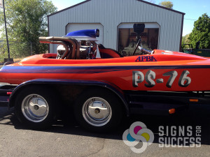 custom boat wraps, Let Signs for Success wrap or add graphics to your race boat or jet boat in Spokane and Coeur d'Alene