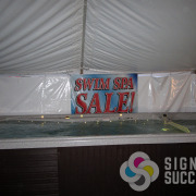 Banner for Quality Spas at Spokane County Fair gets the message across and is easy to store for the next event
