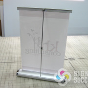 Display your message with a small desktop retractable stand from Signs for Success in Spokane, quick, fast signs now