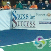 Signs for Success printed the dasher board banners for the Spokane Shock Arena Football team