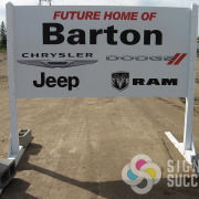 Contractor site signs for showing upcoming Construction projects with skid frames and rigid signs, skid signs
