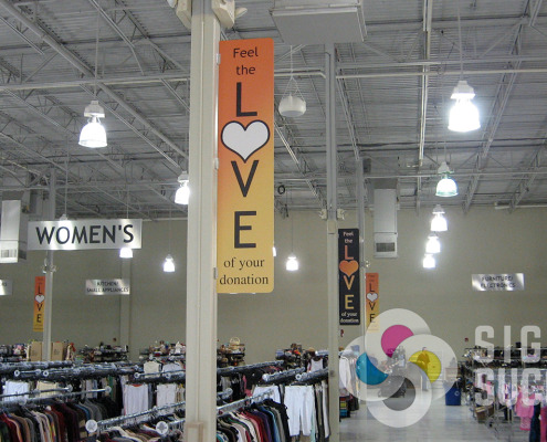 Give direction in a classy manner with projecting and hanging signs like The Arc in Spokane