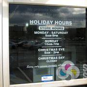 add vinyl lettering to your front door or windows to let customers and vendors know your hours, by Signs for Success Spokane