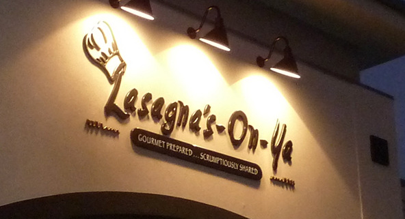 Nightime logo looks great for Lasagna's On Ya dimensional letters out of formed plastic, by Signs for Success, call now for quick, fast service