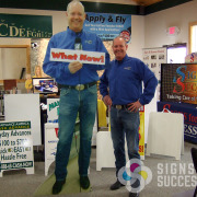 Mark Peterson of KXLY is larger than life with this 8 foot standee, free standing cutout, Mark is taller than most, but this standee dwarfs even him! Done now and fast by Signs for Success in Spokane