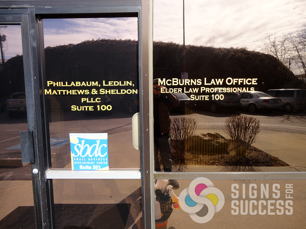 Spokane mcburns law office window suite lettering use cut vinyl lettering graphics for logos