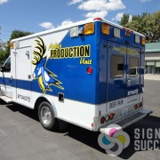 Converted ambulance wrap for Mobile Producton in Deer Park, nice, attractive wrap for converted emergency vehicles
