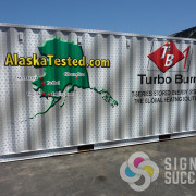 This container trailer wrap is up in Alaska from Spokane for Turbo Burn, it's custom design and wrap is unique and really stands out with advertising
