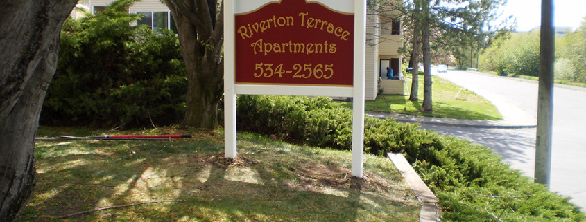 Post and Rail frame with rigid sign face shows great for Riverton Terrace Apartments