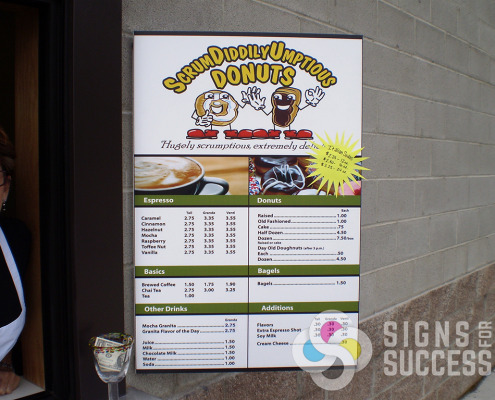 Espresso or ScrumDiddlyUmptious Donuts menu can be refaced or made brand new , call Signs for Success now for fast quote and reliable, quick service