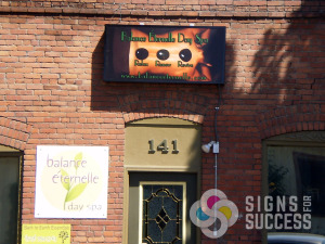 Balance Eternalle Day Spa in Spokane wanted more visibility at night, so this backlit signs light up great and shows hot stone massage