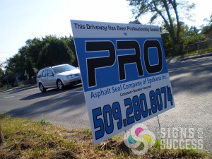 Pro Asphalt needed affordable coro corro corrugated yard signs with stakes in Spokane and Greenacres, yard signs spokane valley