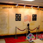 Memorial Wall at Fairchild Air Force Base, printed custom wallpaper, installed with dimensional letters for fallen heros line by Signs for Success Spokane, Airway Heights