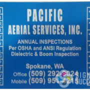 Inspection stickers decals for Pacific Aerial Services in Spokane, for when they need to check off inspection dates on Dielectric & Boom lifts, by Signs for Success, recreated from old sticker, fast