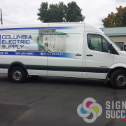 Partial Wrap for Columbia Electric Supply in Spokane and Moses Lake, custom high resolution graphics designed by Signs for Success