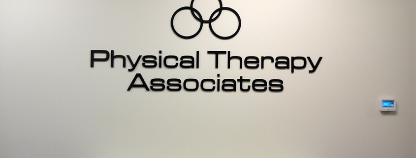 Add your logo to your lobby or office interior wall like Physical Therapy Associates in Spokane, made of laser cut acrylic, flush mounted to wall