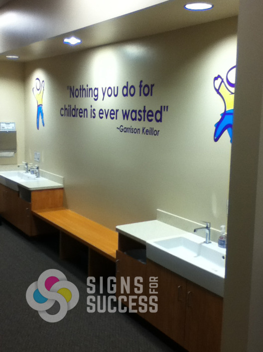 Printed and cut vinyls can be great on interior wall like this one for Physical Therapy in Spokane by Signs for Success