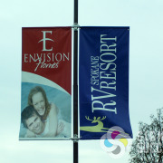 Pole banners on flexible banner hardware to resist wind damage in Spokane and Airway Heights, fast by Signs for Success, pole banners airway heights