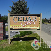 Digitally printed and flat, but has the look of dimension for Cedar West Apartments in Spokane