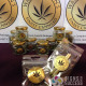 These foiled roll labels were printed on paper stock gold foil for Washington's Finest Cannabis, also Clear stickers decals for windows and styrene table signs round out the products