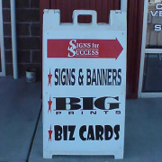 Show your current ads with a sidewalk sign a-frame from Signs for Success in Spokane and Veradale