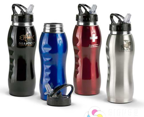 Water bottles with logos, tumblers, mugs and other drinkware can be done by Signs for Success in Spokane and Deer Park