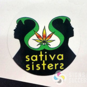 Waterproof label sticker, cut circle round for Sativa Sisters in Spokane Valley by Signs for Success and Stuart Advertising, very small decals printed by the hundreds