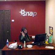 Snap had a new logo and wanted metal laminate dimensional letters on their entrance office lobby wall in their new offices in Spokane, Call Signs for Success