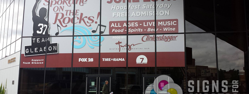 Temporary Advertising window wrap for Spokane on the Rocks at INB Convention Center downtown Spokane, done fast by Signs for Success