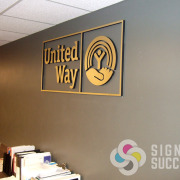 Putting your logo on your office wall with dimensional letters is a very classy way to show who you are, let Signs for Success work with you on options like this metal laminated acrylic for United Way Spokane